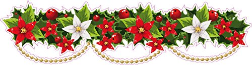 - Nostalgia Decals Christmas Poinsettia Border Wall Decor Small Pair 12