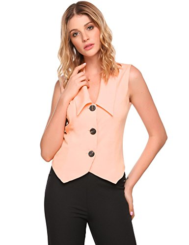 Zeagoo Women Business Turn Down Collar Vest V Neck Waistcoat Top Pink S by Zeagoo