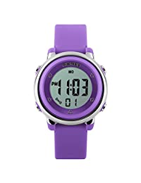 SKMEI Reloj Digital Para Niño O Niña Resistente Al Agua. Cronómetro, Alarma, Fecha Y Retroiluminación. Modelo Flue Color Lila