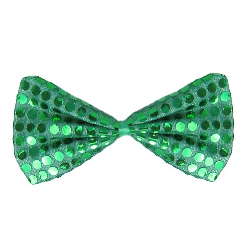 [SeasonsTrading Green Sequin Bow Tie ~ Fun Costume Party Accessory (STC12061)] (Fun Cheap Easy Halloween Costumes)
