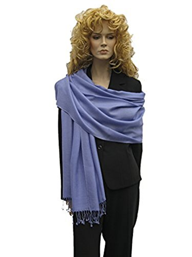 (Scarf/Shawl/Wrap/Stole/Pashmina Shawl in solid color from Cashmere Pashmina Group (Regular Size) - Periwinkle)