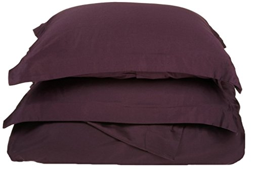 Superior 100% Premium Combed Cotton, 300 Thread Count 3 Piece Duvet Cover Set with 2 Pillow Shams, Single Ply Cotton, Soft and Luxurious Bedding Sets - King/California King Duvet Cover, Plum ()