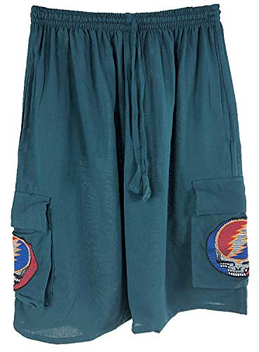 Jedzebel Embroidered Steal Your Face Men's Cargo Shorts | Jayli | Grateful Dead | GD117 (2X-Large, Teal)