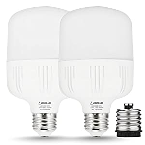 LOHAS LED 250-300 Watt HID/MH Equivalent, 30W Commercial Retrofit Light Bulb, T80 E26 LED Bulb, With FREE E26-to-E39 Converter, 3400 Lumens, Daylight 5000K, for Garage Warehouse (2 Pack)