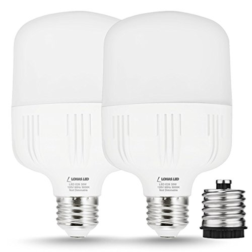 LOHAS 250W-300W Light Bulb Equivalent, 30W LED Bulb Daylight White 5000K with Free E26 to E39 Converter, 3400 Lumens, High Watt Commercial Retrofit LED Bulbs for Garage Warehouse Workshop(2 Pack) by LOHAS