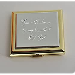 Personalized Silver & Gold Compact Mirror with Magnifying Mirror Engraved Free