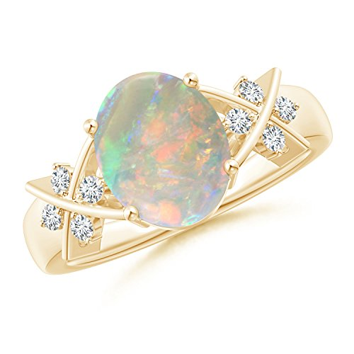 October Birthstone - Solitaire Oval Opal Criss Cross Ring with Diamonds in 14K Yellow Gold (10x8mm (Opal Oval Cross)