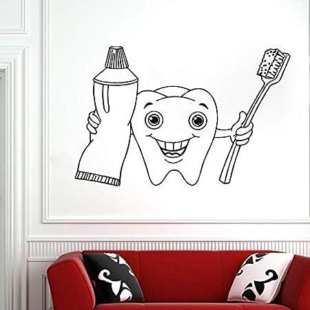 AGjDF Etiqueta de la Pared de la clínica Dental, Etiqueta de la Pared del Dentista, Sonrisa, Dientes, clínica, Vinilo, decoración de la clínica Dental extraíble42x28cm