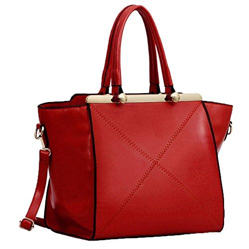 TrendStar - Bolso de mujero rojo y negro de cuero con grabado de imitación F - Red