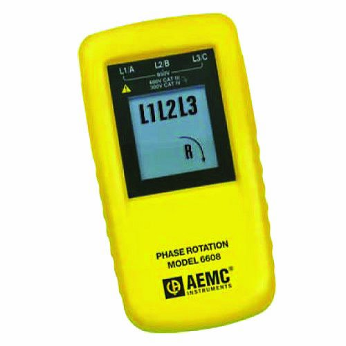 AEMC 6608 Phase Rotation Meter, 850V Voltage, 15 to 400Hz Frequency (400 Power Supply Hz)