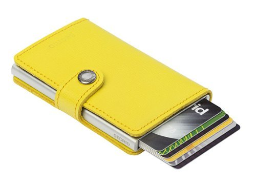 Secrid Mini Wallet Leather Lemon Crisple, Rfid Safe Card Case Yellow Flat Wallet