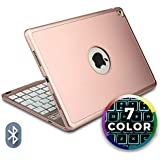 COOPER NOTEKEE F8S keyboard case compatible with iPad Air 2, iPad Pro 9.7 | Wireless Clamshell Cover with Keyboard Backlit | LED Backlight 60HR Battery Sleep/Wake | A1673 A1674 A1566 A1567 (Rose Gold)