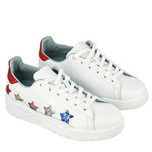 Chiara Ferragni Damen Cf1912 Weiss Leder Sneakers