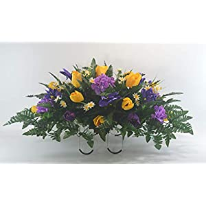 R52 Spring Cemetery Flower Arrangement, Easter Saddle, Headstone Saddle, Grave, Tombstone Arrangement, Cemetery Flowers 7