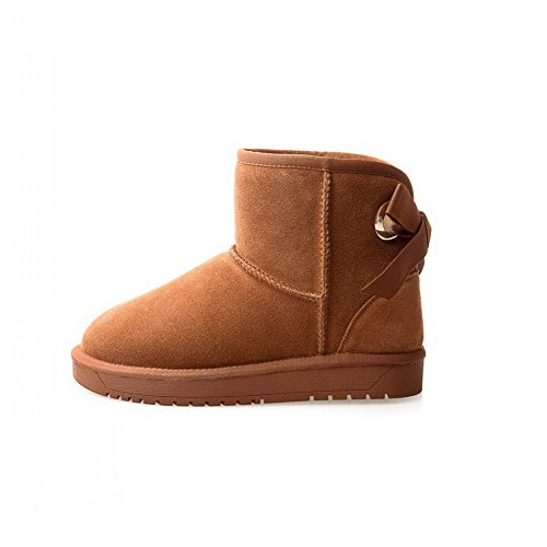 Boots nbsp; Suede Velvet Bows Round Womens nbsp;Lining Toe Camel BalaMasa 0Aq8wYW