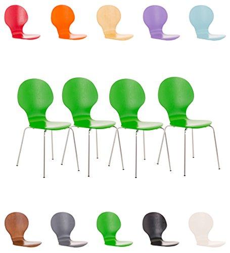 CLP 4 x Stapelstuhl DIEGO mit Holzsitz & ergonomisch geformter Sitzfläche, bis zu 12 Farben wählbar grün