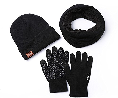 ease Home Unisex Hat Scarves Gloves Set Thermal Winter Warm Knitted Beanie Hat Neck Warmer and Touchscreen Gloves (Grey)