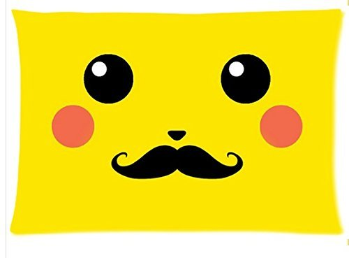 Mustache-Pikachu-Smile-Pillowcase-zip-16×24-Twin-sides-Custom-Zippered-Pillow-Cover-Cases