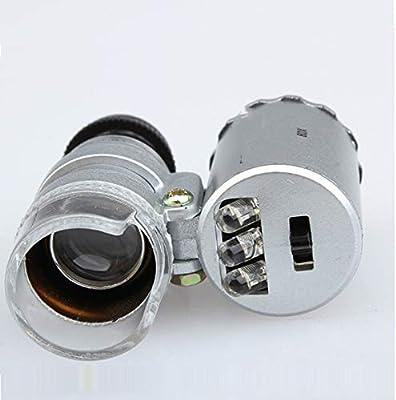 Yihaifu 60X Poches Microscope Bijoux Loupe Loupe LED Verre lumi/ère UV