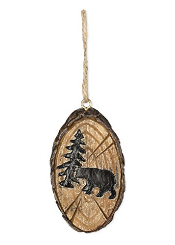 Wood Bark Look Forest Bear Lodge Hanging Ornament