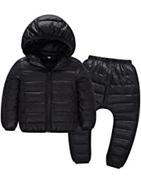 Child Jackets Coats with Pants Girls Boys Winter Snowsuit 2PCS 18-24 Months Age 2-6 Children Clothes Outwear Hooded Windproof by