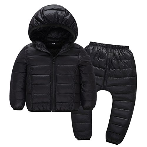 Autumn Winter Coat - Child Jackets Coats with Pants Girls Boys Winter Snowsuit 2PCS 18-24 Months Age 2-6 Children Clothes Outwear Hooded Windproof