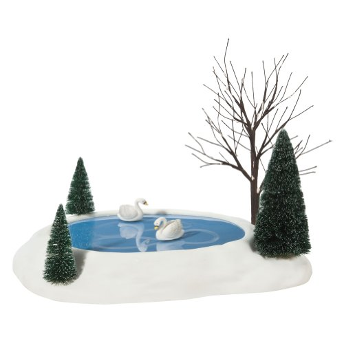 Department 56 Village Swan Pond Animated Accessory (Animated Skating Pond With Music And Lights)