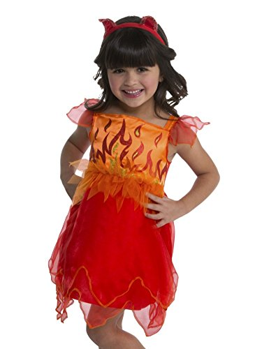Toddler Girls Orange & Red Flames Devil Costume Ruffle Dress & Headband 2T