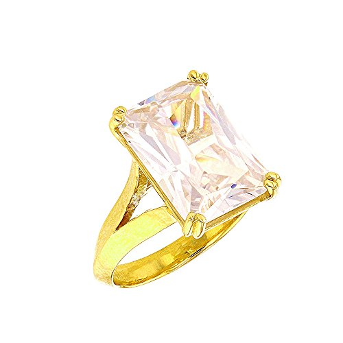 Fine 10k Yellow Gold Radiant Emerald Cut CZ Solitaire Engagement/Promise Ring (Size 12)
