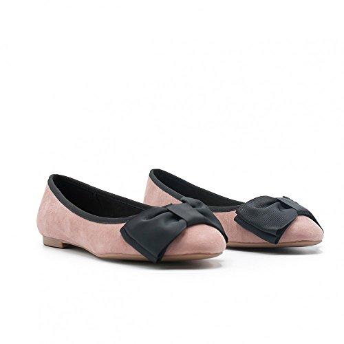 ZAPSHOP - Zapato bailarina con lazo de ante para mujer rosa palo