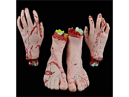 f/ür Dekorationen Hautfarbe QWhing Unfug 2 St/ücke Simulation Fu/ßst/ützen K/örperteil Orgel Horror Blutige Zombie Streich Spielzeug Dekorationen f/ür Halloween