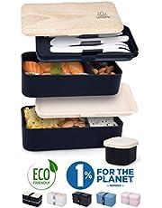 Umami® ⭐ Lunch Box | Bento Box con 2 Compartimientos Herméticos Y 3 Cubiertos Sólidos | Apto para Microondas Y Lavavajillas | Duradero, Saludable Y con Estilo | Apto para Adultos Y Niños (Blue Denim)