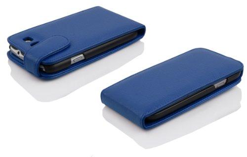 Cadorabo - Funda Flip Style para Samsung Galaxy S3 / S3 NEO (I9300) de Cuero Sintético - Etui Case Cover Carcasa Caja Protección en NEGRO-ÓXIDO AZUL-REAL