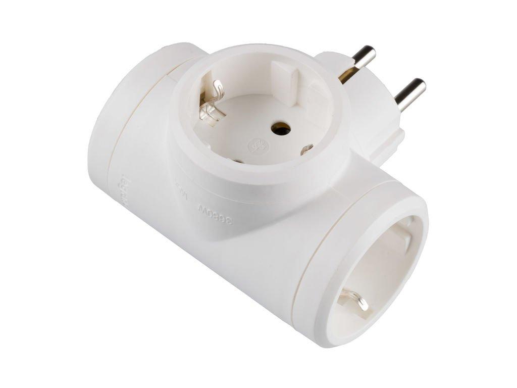 Legrand, 050662 Adaptadores - Adaptador triple con entrada lateral, enchufe en color blanco,