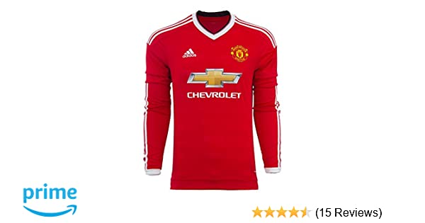 ccf4d6aa Amazon.com : adidas Manchester United FC Home Long Sleeve Jersey-REARED  (XL) : Sports & Outdoors