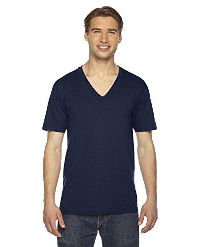 American Apparel Unisex Fine Jersey Short-Sleeve V-Neck (2456) - Navy - XX-Small
