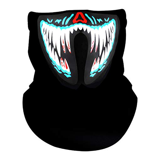Sound Activated LED Light Up Mask,Halloween DJ Music LED Party Mask White