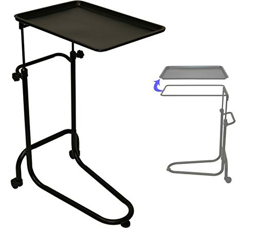 Extra Large Mobile Black Double-Post Mayo Instrument Stand & Work Tray