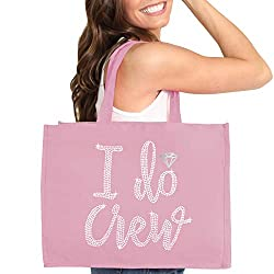 Blush Pink I do Crew Diamond Motif Rhinestone Totes