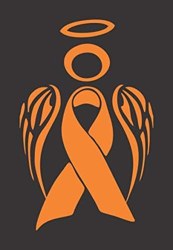 Barking Sand Designs Orange Kidney/Leukemia Cancer Angel Ribbon Awareness - Die Cut Vinyl Window Decal/Sticker for Car/Truck