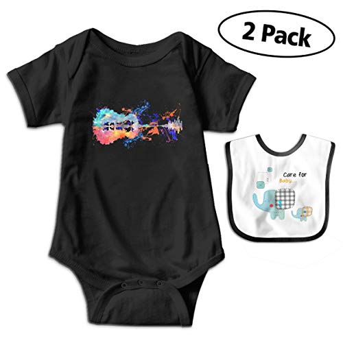 Nature Space Guitar Watercolor Baby Girls' and Boys' Newborn and Infant Cotton Short Sleeve Bodysuits One-Piece Black