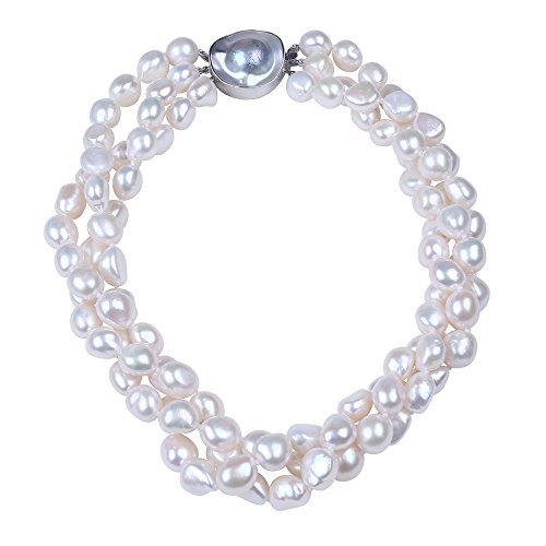 Exquisite 3 Row White Freshwater Pearl Necklace & Sterling Silver Baroque Pearl Clasp. by Sugoi Pearls
