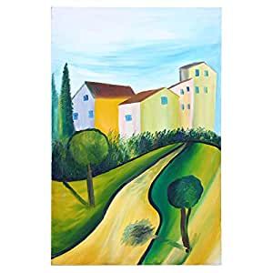 GrandUAE Canvas Multi Color Painting - Houses