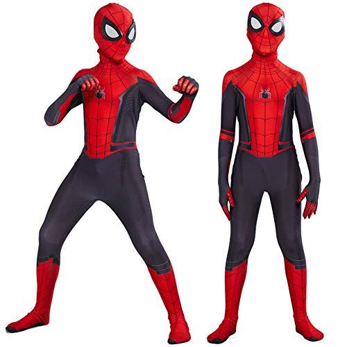 YERFONE Unisex Lycra Spandex Zentai Halloween Far from Home Spiderman Jumpsuit Bodysuit Kids and Adult Spider Tights Costume BlackRed 4T]()