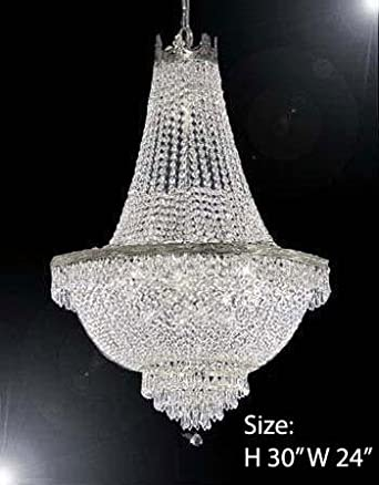 French Empire Crystal Silver Chandelier Lighting – Great for The Dining Room, Foyer, Entry Way, Living Room – H30 X W24