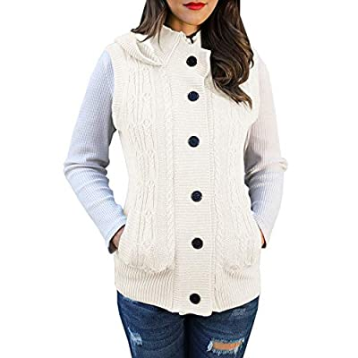 YOMISOY Womens Cardigan Sweater Hooded Vest Cable Knit Sleeveless Button Down Outerwear Coat with Pockets at Women's Clothing store