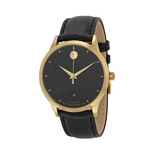 Movado Black Leather Band For Movado Men's1881 Automatic Watch Models: 0606873, 0606874, 0606875