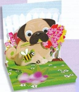 Birthday Greeting Card For Him - Pug Bouquet Pop-Up - Happy Birthday Pug