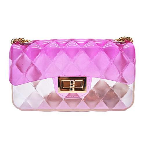 (Anlydia Transparent Messenger Bag Lady Gradient Candy Color Shoulder Purses Mini Crossbody Bag)