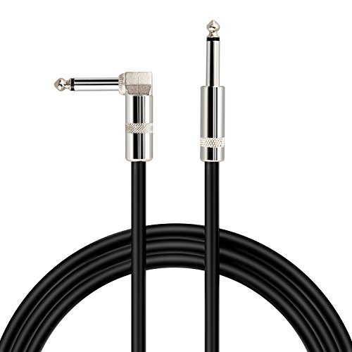 Mugig Standard Cable for Guitar/Bass/Keyboard 16 Feet 1/4 Inch (6.3mm) Straight to Right Angle Male to Male Mono Instrument Cable